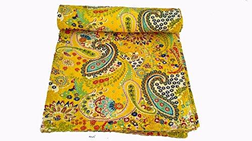Kiara indiano a mano trapunta cotone Stampa floreale reversibile kantha Paisley coperte e copriletti Stitch throw Twin size/Queen Size, Cotone, Buzz Yellow, Coppia