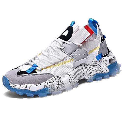 FEETCITY Women's Fashion Sneakers Sports Shoe Athletic Walking Running Shoes Casual Sneaker Size 6.5 White Blue