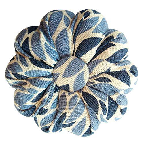 Big Save! CUSHYSTORE Leave Navy Blue Pincushion Garden White Leaf Pin Needle Cushion Cute Small Size Pumpkin Pins Needles Holder Safety for Sewing Girl Women Gift Craft Handmade Quilting 3.5 Inch