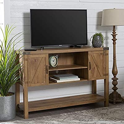 Walker Edison Furniture Company Farmhouse Barn Door Wood Accent Cabinet Entryway Bar Storage Entry Table Living Dining Room, 30 Inch, Grey Wash