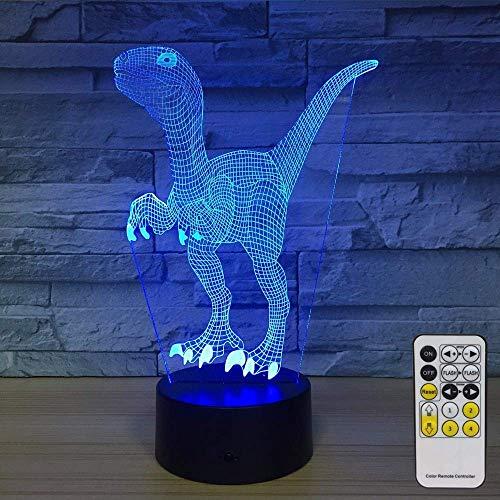 Lámpara de ilusión 3D de dinosaurio para niños, niñas, regalo, luz de noche 3D para dormitorio al lado de la mesa, lámpara de mesa de escritorio con 16 colores cambiantes, regalo para niños