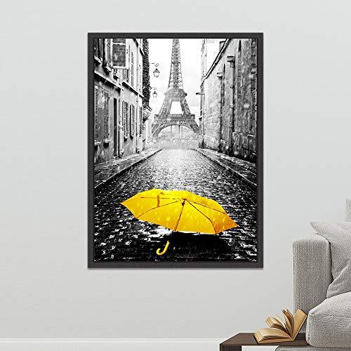 Schwarzweiss-Fotolandschaftswandkunst gelber Regenschirm-Leinwandplakatdruck Nordische Artmalerei Wohnzimmer rahmenloses Dekorationsbild A23 60x80cm