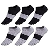 GINZIN Hombres Deportes Cinco calcetines del dedo del pie 5-6 pares (1#)