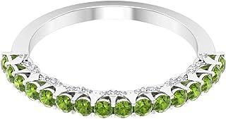 Rosec Jewels - Anillo de peridoto creado en laboratorio de 1 quilate con diamante, anillo de boda de media eternidad (cali...