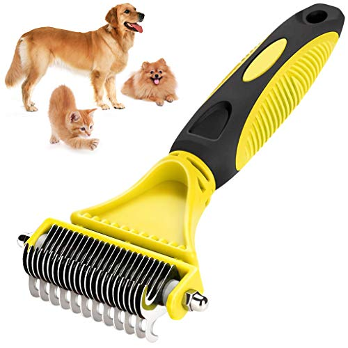 Peine para Perros, Mascotas -Cepillo Tipo Rastrillo 2 en 1 de Limpieza Elininar Pelos Muertos - Desenredar los Nudos Reduce 90% de Caida de Cabello Herramientas quitanudos para Perros y Gatos