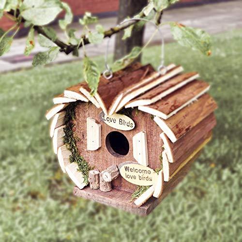 garden mile Novelty Log Cabin Garden Bird House Highly Detailed Predator Proof Bird Nesting Box For Small Birds Garden Ornaments (Log Cabin)