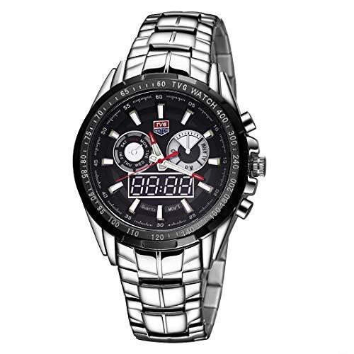 Uhren TVG rundes Zifferblatt Glasuhr Fenster Luminous & Alarm & Week Anzeige Funktion Quarz + Digital doppelte Bewegung Mann-Uhr mit Legierung Band (schwarz) Asun (Color : Black)