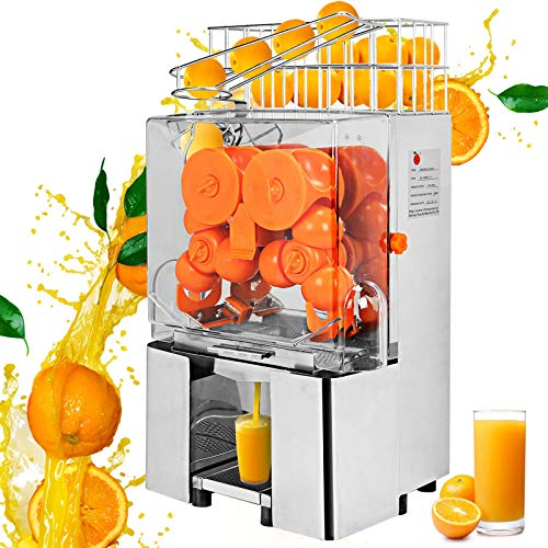 VBENLEM Electric Orange Juicer Commercial, 110V - Squeezer Machine Lemon Automatic, 22-30 Per Minute - Auto Feed 304 Stainless Steel Tank and PC Cover - Perfect for Drink Bar and Home Supermarkets