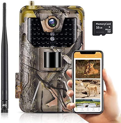 SUNTEKCAM 4G APP Live Video 30 MP image 4K video aggiornato Fotocamera Caccia Fototrappola da supporto 256GB SD card Lettura tempo reale nell'app del telefono, telecomando supporto Android iOS 900Pro