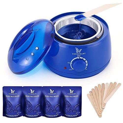 Calentador de Cera de la Aplicación Eléctrica YOURSMART Kit - Cera Depilatoria Caliente Profesional con 4 * 100 g Frijoles de Cera, 20 Espátulas de Madera (El botón)