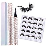 10 Pairs Magic Self-adhesive Eyeliner Pen with 3D Eyelashes Kit,2 in 1 Eye Liner Lash Glue Pen,Faux Mink False Eyelashes,Waterproof&Long Lasting for Eye Makeup