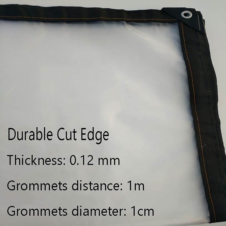 Transparent Thicken Rainproof Cloth Clear Tarpaulin Rainproof Waterproof with Metal Eyelet The Rain Plastic Cloth Film AntiAging Insulation PE, Thickness 0.13mm,2×5m