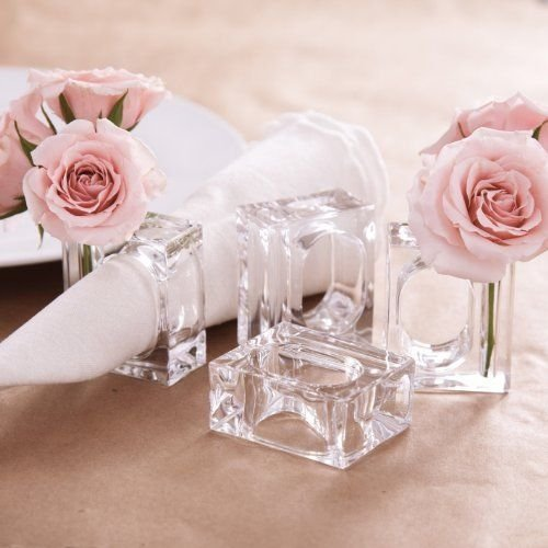 Deco-Mate Acrylic Napkin Rings Bud Vase Flower Holder – Clear - Table Décor, 2-in 1 (Bulk Set) Wholesale (12)