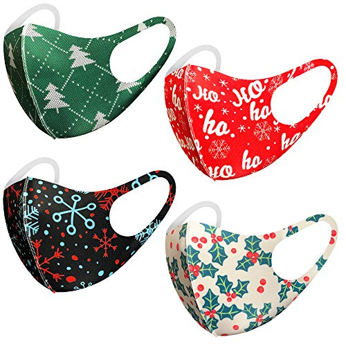 Unisex Children's Cute Christmas Holiday Theme Breathable Washable Reusable Face Mask for Kids Boys & Girls, Snowflakes, Trees, Reindeers (4 Pack, Christmas Set B)