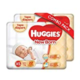 Huggies New Born Taped Diapers Combo Pack of 2, 22 Counts Per Pack