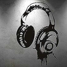 Personalidad diseño Creativo música Auriculares música Fan Pegatinas de Pared Dormitorio música Sala decoración Vinilo Pegatinas de Pared 75x113cm