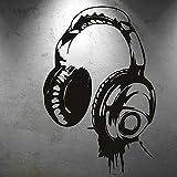Opprxg Diseño de Personalidad Música Auriculares Abanico de música Pegatinas de Pared Dormitorio Música Decoración de la habitación Pegatinas de Pared 57x85cm