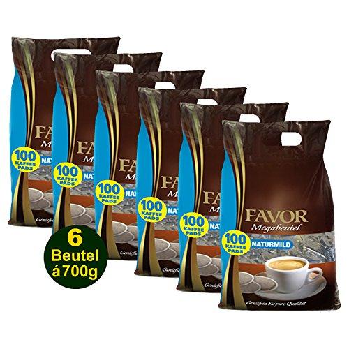 FAVOR Megabeutel 100 Kaffeepads Naturmild 6x 700g (4200g) - Mischung naturmilder Kaffeesorten!