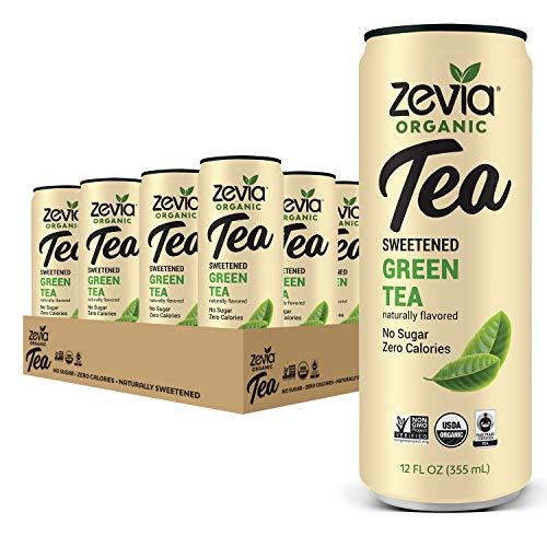 Zevia Organic Sugar Free Iced Tea, Green Tea, 12 Ounce Cans, (Pack of 12)