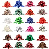 PintreeLand 24PCS Christmas Wrap Pull Bows with Ribbon 5 Wide Wrapping Accessory for Xmas Present, Gift, Florist, Bouquet, Basket, Xmas Tree Decoration (24 PCS)