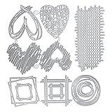 8 piezas troqueles plantilla de corte corazón conjunto geométrico troqueles de corte círculo de cuadrícula de amor marco cuadrado estampado relieve para scrapbooking álbum de fotos tarjetas decoración