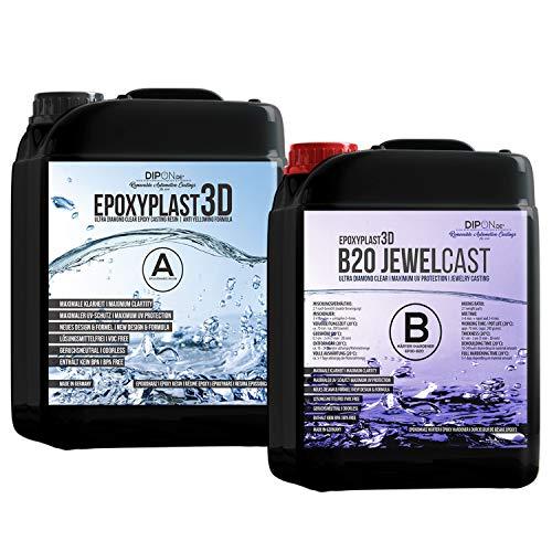 7,5 KG Epoxidharz EpoxyPlast 3D B20 JewelCast Ultra Diamantklar für Resin Art mit Exzellentem UV-Schutz I Gießharz Glasklar für Schmuck und Formenbau Schnellhärtend für Holz