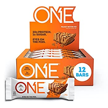 ONE Protein Bars Peanut Butter Pie Gluten Free Protein Bars with 20g Protein and only 1g Sugar Guilt-Free Snacking for High Protein Diets 2.12 oz  12 Pack