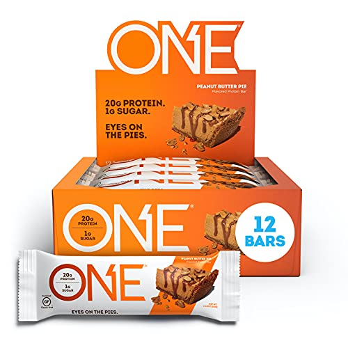ONE Protein Bars, Peanut Butter Pie, Gluten Free Protein Bars with 20g Protein and only 1g Sugar, Guilt-Free Snacking for High Protein Diets, 2.12 oz (12 Pack)