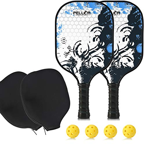 Pickleball Paddle Set, 2 Graphite Pickleball Rackets Honeycomb Core Pickle Ball Racket 4 Pickleballs and 2 Covers Best Pickleball Racquet Game Sets + Cover