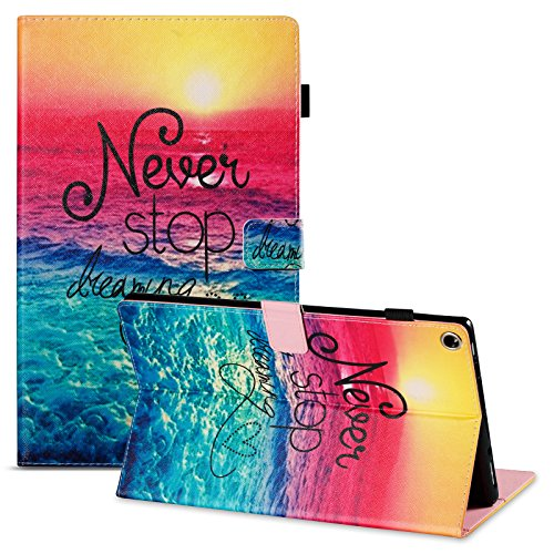 """Kindle Fire HD 10 10.1"""" Tablet 2019 2017 Case 9th/7th Generation,UUcovers Smart Folio Stand PU Leather TPU Magnetic Wallet with Stylus Pencil Holder Card Slots [Auto Wake/Sleep], Never Stop Beach"""