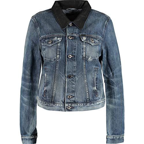 Diesel DE Wild Donna Denim Jeans Giacca Cotone Lyocell Gomito Flip Tasche Italia Blu S