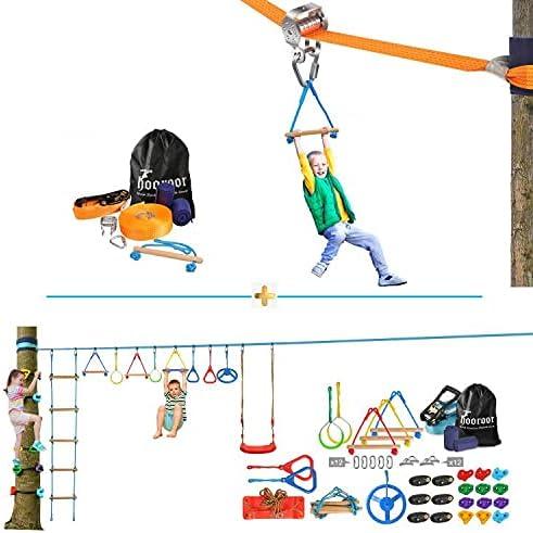 hooroor Ninja Warrior Obstacle Course for Pulley Kids-66F Slider Sale Outstanding