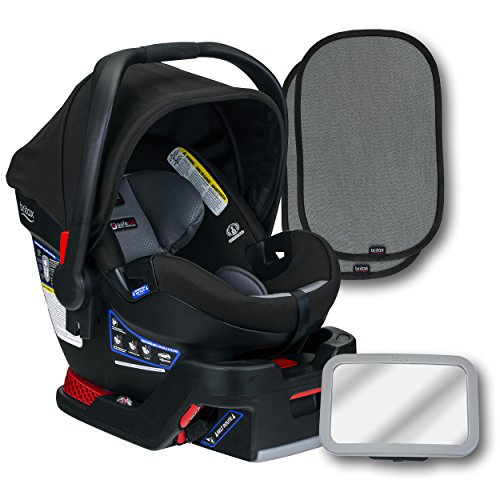 New Britax B-Safe Ultra Infant Car Seat, Gris, Back Seat Mirror, and 2 EZ-Cling Window Sun Shades
