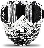 Motorcycle Goggles Mask Detachable,Ski Motocross Goggles Helmet Sunglasses (Black&White)