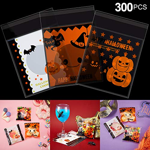 300 Stücke Halloween Süßigkeiten Keks Beutel, 3 Verschiedene Selbstklebende Klar Tasche für Bäckerei Keks Snacks, Dessert, Hausgemachtes Handwerk