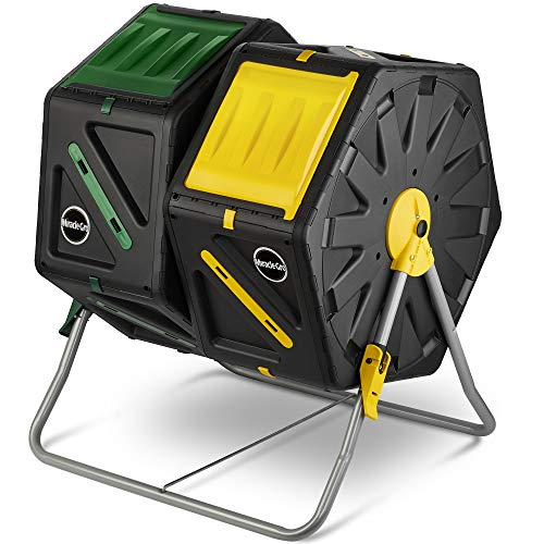 Miracle-Gro Dual Chamber Compost Tumbler – Outdoor Compost Bin, 2 Sliding Doors, (2 X 18.5 Gallon / 70 Liter)
