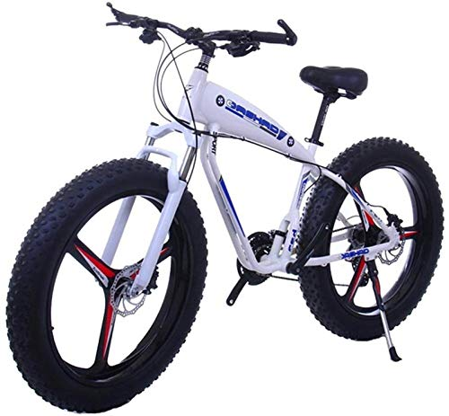 YAOSHUYANG Electric Bike 26 Inch 21/24/27 Speed Electric Mountain Bikes with 4.0' Fat Snow Bicycles Dual Disc Brakes Brakes Beach Cruiser Mens Sports E-Bikes (Color : 15ah, Size : BlackA)