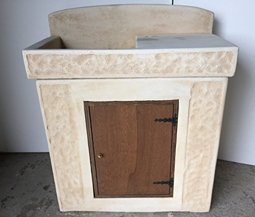 Artistica Graillo Lavabo in cement, Lavello, afbeelding van hout, afmetingen: 84 x 44 x 101 cm.