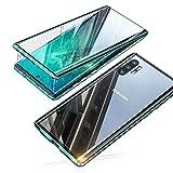 Jonwelsy Hülle für Samsung Galaxy Note 10 Plus 5G (6,8 Zoll), Magnetische Adsorption Metall Stoßstange Flip Cover mit 360 Grad Schutz Doppelte Seiten Transparent Gehärtetes Glas Handyhülle (Green)