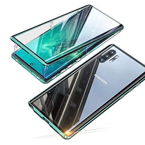 Jonwelsy Funda para Samsung Galaxy Note 10 Plus (6,8 Pulgada), Adsorción Magnética Parachoques de Metal con 360 Grados Protección Case Cover Transparente Ambos Lados Vidrio Templado Cubierta (Verde)