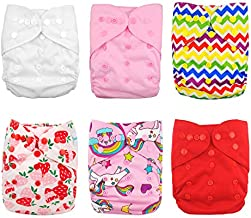 Babygoal Cloth Diaper Cover for Girls,Baby Adjustable Reusable Covers for Fitted Diapers and Prefolds, 6pcs Baby Clothes Covers+One Wet Bag 6DCF01