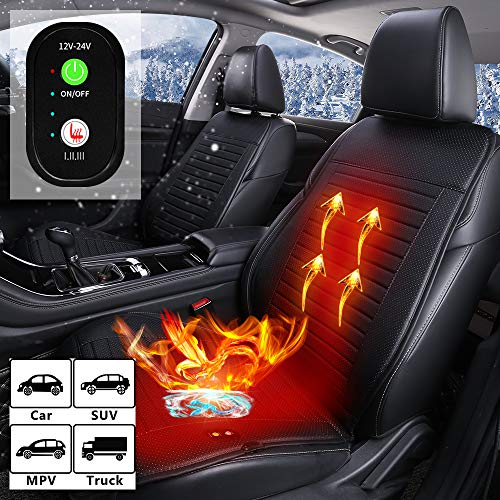 ASTRYAS 12V / 24V Seat Cushion Cover - Universal Seat Warmer with 3 Levels Safety - Auto Shutoff Heating Setting, Soothing Heat Seat Heater for Front Chair - Leatheret Black
