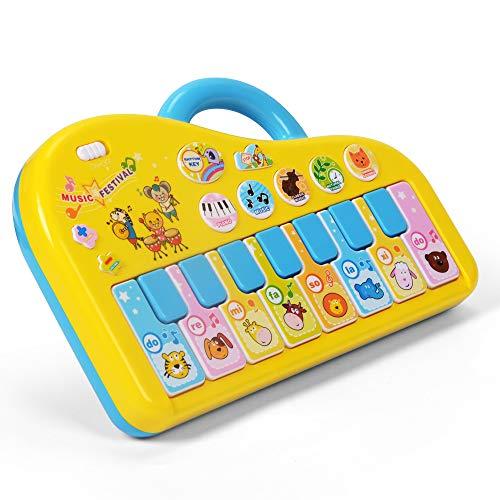 NextX Baby Klavier mit Glockenspiel Musikspielzeug Geschenke für Baby und Kleinkinder (Gelb)