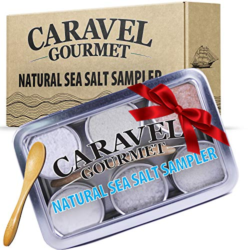 The Natural Sea Salt Sampler - 6 Flavors, Reusable Tins, Bamboo Spoon - Cyprus Flake Pyramid Salt, French Grey, Himalayan Pink, Portuguese, Sicilian, and New Zealand Sea Salts - 1/2 oz each