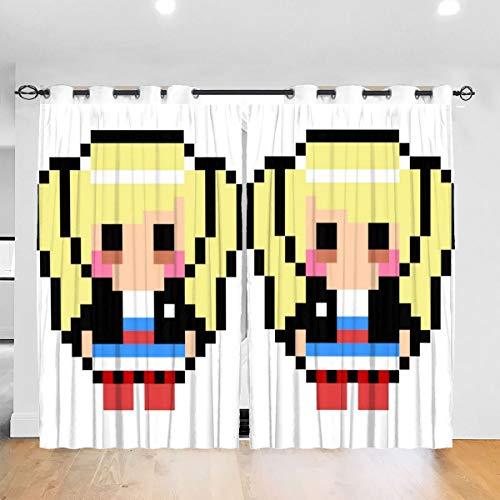 HONGYANW Persona 5 Ann Takamaki Pixel Art Ösen Thermo-Isolierender Vorhang für Schlafzimmer Wohnzimmer 132,2 x 182,9 cm