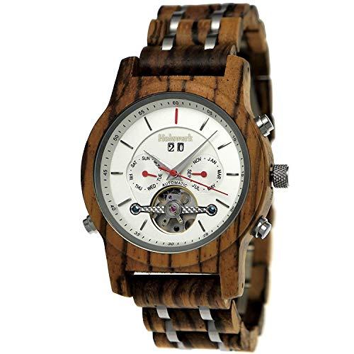 Handgefertigte Holzwerk Germany® Automatik Damen-Uhr Öko Natur Holz-Uhr Holz Armband-Uhr Braun Schwarz Silber Weiß Analog Datum und Wochentag Anzeige