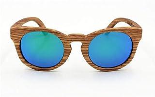 Women's Vintage Bamboo Sunglasses Premium TAC Unisex Glasses Sunglasses (Color : Green)