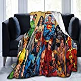 Justice League Throw Blankets Ultra Soft Micro Fleece Blanket,All Seasons Lightweight Fuzzy Warm 3D Printed Air Conditioning Blanket,for Bed and Sofo 80'x60'