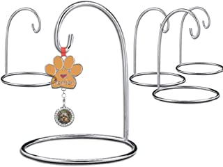 BANBERRY DESIGNS Ornament Stands Set of 4 Silver Christmas Holders Air Plant Terrarium Christmas Ornament Collection Display Chrome Finished Metal 11-Inch Tall