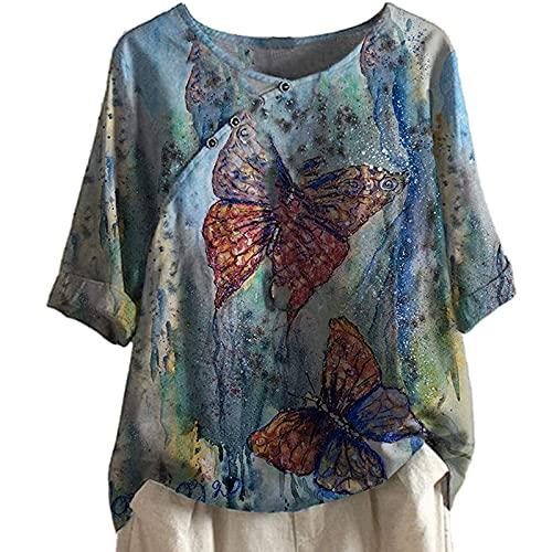 LOIAZD Blusas y Camisas de Mujer Verano Tallas Grandes Algodón y Lino con Botones pez Vintage Suelta Moda T-Shirt